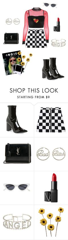 """Art Angels"" by nattindira ❤ liked on Polyvore featuring Jeffrey Campbell, Yves Saint Laurent, me you, Polaroid, NARS Cosmetics, ZiaBella, 90s, edgy, grungy and checkerboard"