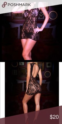 Fishnet Body Stocking Shapely and sheer, this figure hugging  lace mini dress work with the curves of your body to produce a knockout nighttime silhouette. Also back less. Weight: 90- 175lbs Height: 5'5'-10' 92% Nylon 8% Spandex Intimates & Sleepwear