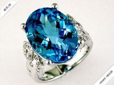 Women's Diamond & Blue Topaz Ring in 14K White Gold (14.75 ctw)