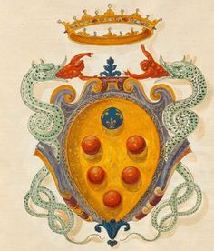 Cosimo I av Medici Family Crest, Crests, Coat Of Arms, Ancient Book, Images, Symbols, Antiques, Florence, Stained Glass