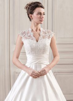 Ball-Gown V-neck Court Train Satin Lace Wedding Dress With Ruffle (002059189) - JJsHouse