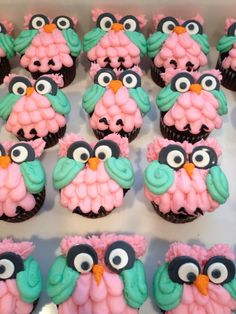Owl Cupcakes For My Mom The Little Adventurer With Cakes And Cup Cakes!... DONE...These r the cupcakes we had put in tree cake ... Cute! Big smiles !