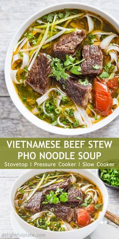 You Have Meals Poisoning More Normally Than You're Thinking That Vietnamese Beef Stew Pho Noodle Soup Pho Bo Sot Vang Is A Hearty And Comforting Noodle Soup. It Features Tender Beef Cubes, Flavorful Broth And Amazing Aroma From Pho Spices. You Can Cook It Slow Cooker Recipes, Beef Recipes, Cooking Recipes, Cooking Pork, Easy Cooking, Recipies, Pho Spices, Pho Beef, Pho Noodle Soup