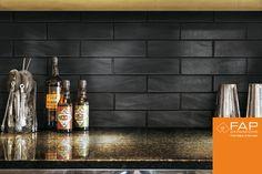 New Products - Fap Ceramiche Boston Lifestyle Lavagna subway tile Black Ceiling, Black Walls, Boston, Mosaic Bathroom, Building Materials, Beautiful Interiors, Helsinki, Black House, Home Improvement