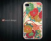 iphone 4 case iphone 4s case iphone 4 cover green white drapery flower graphic design printing