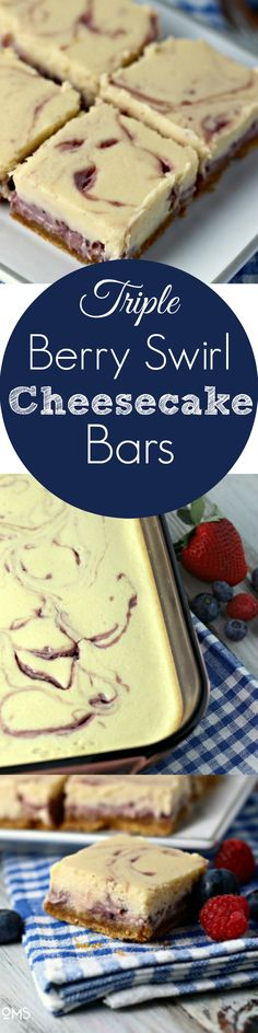 Triple Berry Swirl Cheesecake Bars | by Renee's Kitchen Adventures - Easy recipe for an amazing dessert anyone can make!  Foolproof method for making perfect cheesecake bars every single time!
