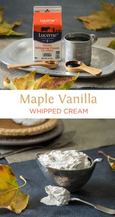 Maple Vanilla Whipped Cream - You will fall in LOVE with this whipped cream! So good and easy! Great for any pies, desserts, or PANCAKES! Thanksgiving Recipes, Fall Recipes, Sweet Recipes, Holiday Recipes, Yummy Recipes, Just Desserts, Delicious Desserts, Dessert Recipes, Yummy Food