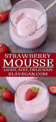 A light and airy strawberry mousse, perfect for a creamy summer dessert! Plus, this sweet treat uses just 7 ingredients, including being vegan, refined sugar-free, and containing a secret ingredient for the fluffy, melt-in-the-mouth texture. #strawberrymousse #elasrecipes elavegan.com Blueberry Cream Pies, Vegan Blueberry, Aquafaba, Healthy Baking, Healthy Desserts, Baby Food Recipes, Dessert Recipes, Vegan Lemon Cake, Peanut Butter Mousse