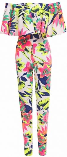 Tropical Neon Ruffle Jumpsuit