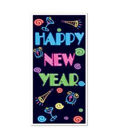 Neon Happy New Year Door Cover - 5ft