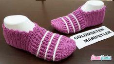 Çizgili Lastik Modeli Patik Yapılışı Türkçe Videolu #elişi #örgü #moda Arm Warmers, Fingerless Gloves, Slippers, Socks, Model, Fashion, Tricot, In Love, Slipper