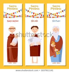 Set of 3 universal greeting cards and bookmarks with Saint Anthony, Saint John, Saint Peter (Santo Antonio, Sao Joao, Sao Pedro). Bookmarks, Greeting Cards, Family Guy, Saint John, Embroidery, Illustration, Template, Fictional Characters, Santos