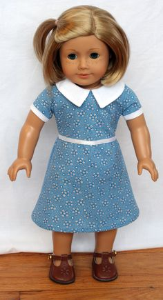 Blue and White Print 1930s  American Girl style by WildFishy, $25.00