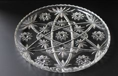 Large size, beautifully cut vintage high tea serving platter from Anchor Hocking -------------I HAVE THIS PLATTER . IT IS THE STAR OF DAVID PATTERN.