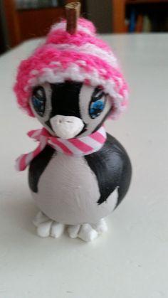 voorkant pinguïn kalebas nog geen 5 cm hoog