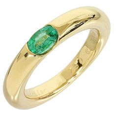 Cartier 18K Yellow Gold Emerald Elipse Ring US SIZE 6.75