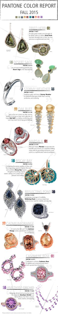 Draw Inspiration for Fall 2015 With These Pantone-Pretty Jewels @pantonecolor  #color
