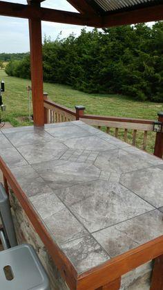 ceramic faux wood tile for a bar top | deck building hacks