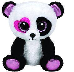 TY 36130 - Mandy - Panda mit rosa Herzauge, Glitzeraugen, Beanie Boo's, Valentine Special, limitiert, 15 cm