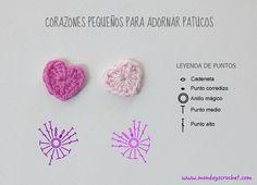 Diagrama de corazones pequeños de crochet