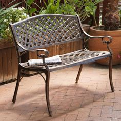 Outdoor Patio Garden Bench Copper Cast Aluminum Rust-Proof Deck Furniture Chair #ChristopherKnightHome