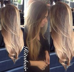 hair color, darker w/ caramel highlights. like the transition