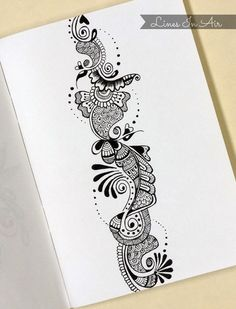Henna Art by LinesInAir on DeviantArt – Zeichnen Henna Drawings, Zentangle Drawings, Art Drawings, Zentangles, Doodle Patterns, Henna Patterns, Zentangle Patterns, Mehndi Designs Book, Henna Tattoo Designs