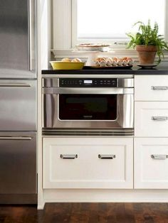69 Top Built In Microwave Cabinet Inspirations For Beautiful Kitchen - Microwaves - Ideas of Microwaves - 69 Top Built In Microwave Cabinet Inspirations For Beautiful Kitchen Small Kitchen Cabinets, Refacing Kitchen Cabinets, Kitchen Cabinet Hardware, Kitchen Cabinet Design, New Kitchen, Kitchen Decor, Kitchen Appliances, Kitchen Designs, Kitchen Interior