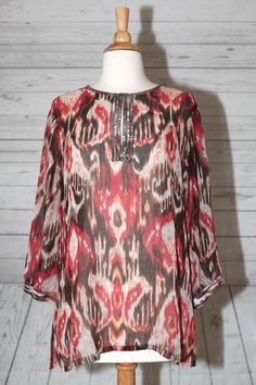 CHICO'S SZ 1 SILVER BEADED 3/4 SLEEVE SHEER ABSTRACT MULTI DRESS TOP BLOUSE  #Chicos #Blouse #EveningOccasion