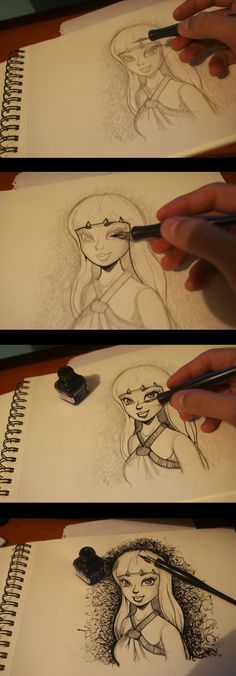 Chinese ink drawing - process