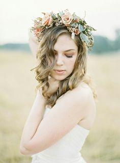 Pastel flower crown veil
