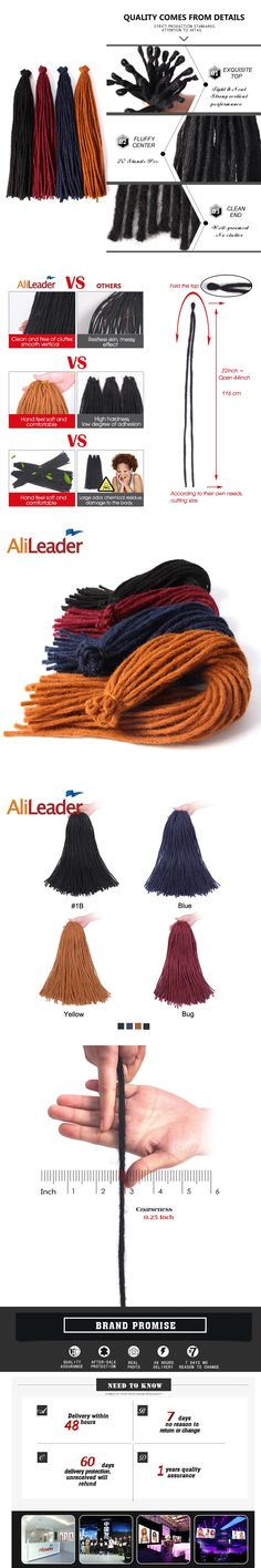 AliLeader Crochet Braids Dreadlock Extensions Kanekalon Synthetic Hair For Men Or Women 22 Inch Light Weight 20G Braiding Hair
