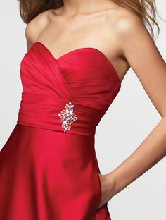 6587c739f81fe ... Close-up of bodice on Alfred Angelo bridesmaids dress 7166 in cherry.  The rhinestone  White Bridal Flip Flops