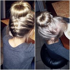 Upsidedown braid and a sockbun