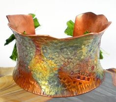 Hammered Copper Cuff, Forged Copper Bracelet, Anticlastic Copper Bracelet, Colorful Heat Patina, Women's Copper Jewelry- Ruffled Squares on Etsy, $159.00