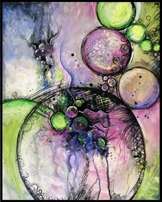 Tourmaline by *San-T on deviantART.Acrylic, ink, watercolor on Art Journal Pages, Art Journals, Mixed Media Collage, Collage Art, Art Doodle, Alcohol Ink Art, Art Graphique, Mix Media, Art Journal Inspiration