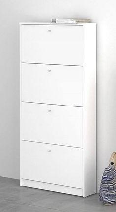 Skoskab i hvid m. 4 rum - Gratis fragt