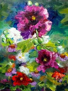 """Artists Of Texas Contemporary Paintings and Art: """"Fushia"""" Flower Paintings, Flower Landscape, Red Fushia Flowers, Texas Contemporary Fine artist Lunell Gilley"""