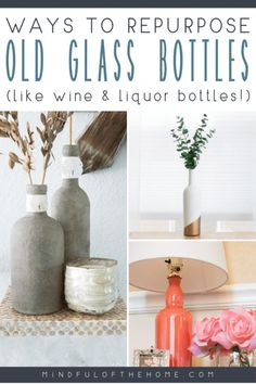 16 DIY Home Decor Ideas Using Old Glass Bottles Looking for ways to reuse and repurpose glass bottles? These bottle crafts using wine, liquor, beer bottles and more are the perfect DIY to turn waste into gorgeous home decor and give it a new purpose. Alcohol Bottle Crafts, Liquor Bottle Crafts, Alcohol Bottles, Diy Bottle, Bottle Glasses Diy, Alcohol Bottle Decorations, Old Liquor Bottles, Empty Glass Bottles, Recycled Glass Bottles