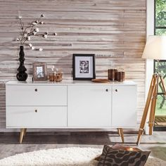 Sideboard Tenzo Weiss/ Eiche - Segmüller Sideboard Decor, White Oak, Wall Colors, Wall Design, Sweet Home, Dining Room, Cabinet, Interior Design, Furniture