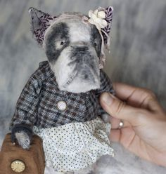 French Bulldog Alina By Nastia and Cat - My favorite French girl Alina! My little charming Bulldog made in antique vintage style! She dressed in a vintage dress with polka dots, jacket, with a flower and a ribbon on her head. And Alina have handbag,in handbag is star! All clothing grow old and can be removed. Bul...