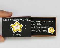 "Friendship Card Matchbox/ Gift box/ ""Good Friends are like Stars"""