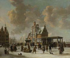 Het Paalhuis en de Nieuwe Brug te Amsterdam in de winter., Jan Abrahamsz. Beerstraten, 1640 - 1666