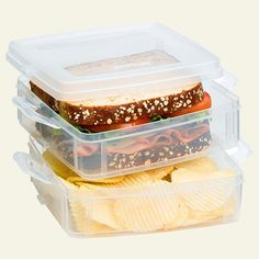 "Snapware Snap-and-Stack 2-Layer Sandwich Box by Snapware. $10.68. Made in the USA. Snap 'N Stack Food Storage Sandwich Box Set. BPA free polypropylene container and lid. 6"" x 6.5"" x 4"". Microwave, dishwasher and freezer safe. Snapware's 2-Tier food container is an ideal container for packing a waste-free lunch. The separate compartments are perfect for holding a sandwich and other snacks, keeping them separate but conveniently close. A durable, high-quality replacement for ..."