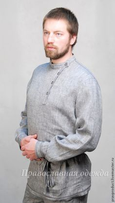 Traditional Russian gray linen shirt