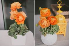 succulents and orange ranunculus (maybe skip the contemporary container and use rustic wood) Floral Centerpieces, Flower Arrangements, Centerpiece Ideas, Wedding Centerpieces, Floral Wedding, Wedding Flowers, Wedding Orange, Flower Decorations, Wedding Decorations