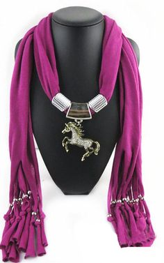 For the ultimate horse lover. Our jewelry scarf makes a great addition for any outfit.  Available in 7 beautiful colours.