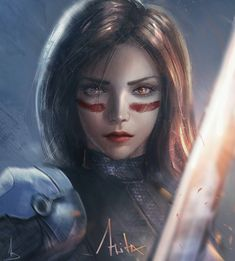 "Beautiful ""Alita Fan Art"" metal poster created by Bilal Design. Alita Movie, Samurai, Alita Battle Angel Manga, Sketch 4, Wolf, Digital Portrait, Digital Art, Sci Fi Art, New Artists"