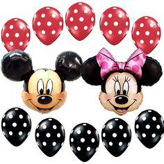 Birthday Party Supplies Mickey Minnie Mouse Foil Balloon Red Black Polka dots #Disney #BirthdayChild