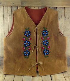 Moosehide vest with blue flower beadwork #Esawa #Handmade #Moosehide #Vest